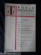 INTERNATIONAL THEATRE INSTITUTE WORLD PREMIER - JUNE 1951 VOL 2 #9