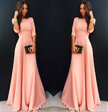 UK Women Ladies Slim Party Cocktail Evening Party Ball Gown Pink Long Maxi Dress