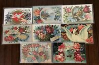~Lot of  8~Fancy Roses~Birds~Flowers~Antique~Victorian Greeting Postcards-g256