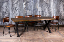 HANDMADE PINE AND STEEL X FRAME VINTAGE INDUSTRIAL STYLE KITCHEN DINING TABLE