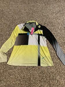 NWT Jamie Sadock Golf  Sunsense Long Sleeve Shirt Top Size L Color Yellow