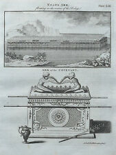 1797 Noah's Ark Deluge Ark of the Covenant  Antique Print + 2 pages of Text 1797