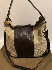 Authentic Gucci Guccisimma GG canvas leather hobo crossbody bag tote w/ Lock/key