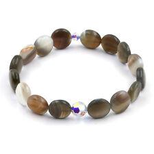 Alias Kim Womens Swarovski 8mm Crystal Botswana Agate 12mm Stone Wrist Bracelet
