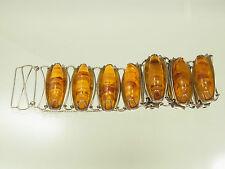 Schönes großes  Fischland Honig Poly Bernstein Armband 835 Silber um 1950