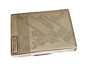 Imperial Russian Silver Cigarette Case 14k Gold Application Circa 19th Century.