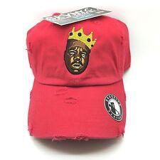 Red Distressed Biggie 90s Retro Vtg Dad Cap Hat