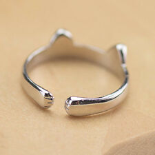 925 Cute Cat Palm Sterling OPENNING Silver Ring  Jewelry Base US Size 7
