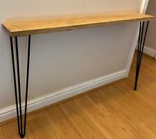 Handmade Solid Oak Hallway Console Table With Hairpin Legs