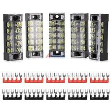 5Pcs 600V 15A Dual Rows 5 Position Screw Connector Barrier Terminal Block Strip