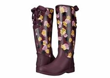 COACH Tristee Rainboots Women's SIZE 9 Plum & Floral New in Box $168.00