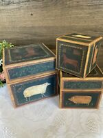 3 PC Lang Bob's Boxes Primitive Farmland Stacking Nesting Boxes For Farm House