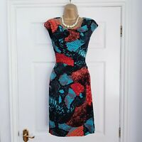 NINE WEST Ladies Black, Orange & Teal Ruched Stretch Dress size 2 UK 10