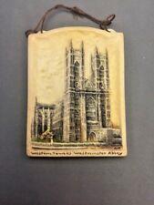 Western Towers Westminster Abbey 3¼x4½ Arthur Osborne Ivorex Wall Plaque