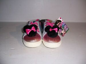 Disney Minnie Mouse Glitter & Pom Pom Toddler Girls Sneakers Shoes Various Sizes