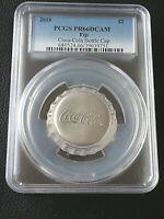 2018 Fiji Coca Cola Coke Bottle Cap 1 oz .999 Silver $2 PCGS PR 66 Deep Cam COIN
