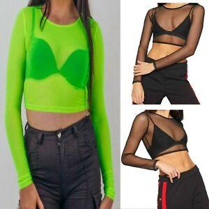 Women's Sheer Mesh Crop Top Ladies Girls Long Sleeve Stretchy T-Shirt S/M M/L
