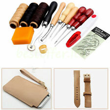 13Pcs Leather Craft Hand Stitching Sewing Tool Thread Awl Waxed Thimble Kit USA