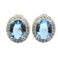 12x10mm 2.6g London Blue Topaz CZ Gift Sister 925 Sterling Silver Stud Earrings