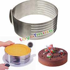 ajustable de acero inoxidable Mousse pastel anillo de molde de capa cortador