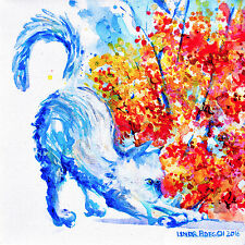 "'Autumn Cat' -12x12"" art print on 80lb paper - #3 in series of 4 seasonal cats"