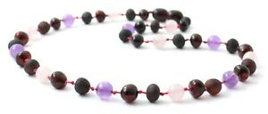 Baltic Amber Necklace With Amethyst and Rose Quartz, Raw, Polished, Black Cherry