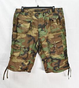 Sean John Men's 100% Cotton Flat-Front Camouflage Cargo Shorts, Size 36, *Defect