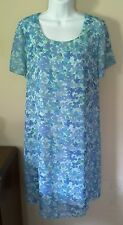 Duo Maternity LARGE Dress Blue Floral Modest Church Spring Easter