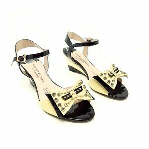 Roberto Botella Black Yellow Patent Leather Wedge Heel Party Shoes UK 3 Studs