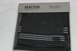 Kenneth Cole Reaction Men's Grey Acrylic Knit Beanie Hat and Scarf Set