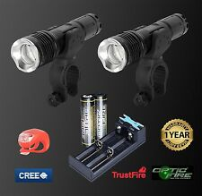 Opticfire CREE XML LED t6-zoom IMPERMEABILE TWIN TORCIA BICI LUCE LUCI HEAD SET