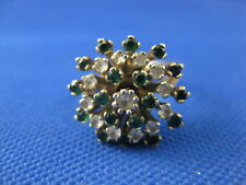 VINTAGE 10K YELLOW GOLD GREEN & WHITE SPINEL RING SIZE 5 1/2