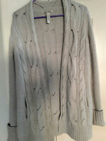Lucky Brand women's cardigan wool blend cable knit open front sparkles Grey L
