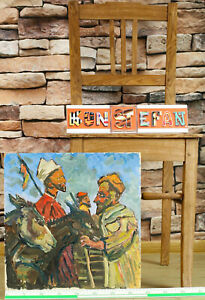Ernst Pader 1915-1978 Old Oil Painting Two Donkey 2 Men Morocco Expressive 10