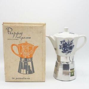 Vintage Alpu Puppy Express Machine à Café Italie Original Boite Porcelaine Thé