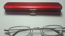 Classic Mini +1.75 Presbyopia Reading Glasses w/Slim Pocket Pen Clip Hard Case