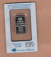 More details for sealed suisse pamp half ounce 999.5 palladium bar in mint condition.