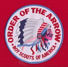WHITE Twill OA Indian Head Jacket Back Patch Order Arrow 6 Inch BLUE Border