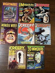 8 Monster Horror Magazines Famous Monsters Nightmare Creepy Eerie VG/F Lot #6