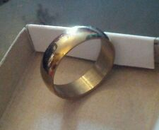 Mens Highly Polished Gold plated SS Wedding band Ring 6mm wide 316l UK P