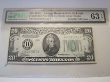 New listing 1934-C Federal Reserve Note StL $20 Pmg 63Epq ~Bfly Fold Error~ Fr#2057 New Back