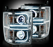 RECON 14-15 Chevy Silverado NEW Chrome PROJECTOR HEADLIGHTS OLED HALOS & DRL SET