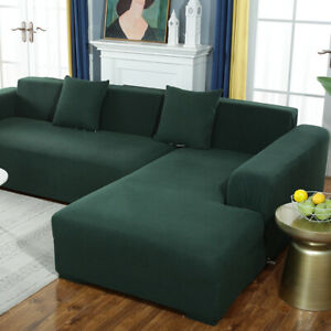 Corduroy L Shape Stretch Plush Sofa Cover Protector Corner Couch 1-4 Seater