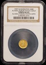 1909 Washington 50c 1/2 DWT Alaska-Yukon-Pacific Expo Gold Token NGC MS63