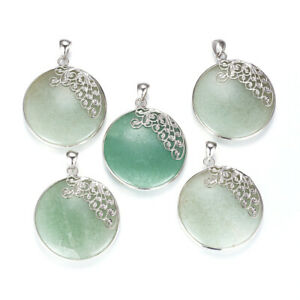 1Pc Natural Green Aventurine Flat Round with Butterfly Brass Finding Pendants