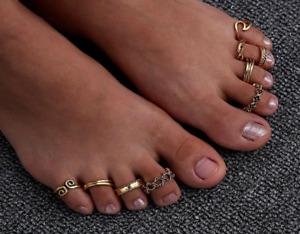 BOHO FESTIVAL BEACH  SET OF 9 TOE RINGS ADJUSTABLE GOLD SILVER TONE UK SELLER