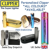 PERSONALISED ENGRAVED METAL CLIPPER - BIRTHDAY GIFT CHRISTMAS - BLACK BLUE GOLD