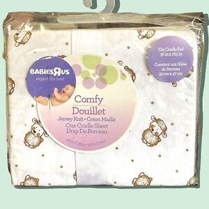 Babies R Us Comfy Douillet Jersey Knit Cradle Sheet/White w/Lamb-Sheep