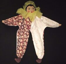 Old rag doll made of cloth, Pierrot Clown.  16 inches. 1950's.