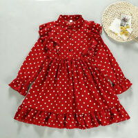 Toddler Kids Baby Girl Casual Party Ruffles Dot Print Princess Long Sleeve Dress